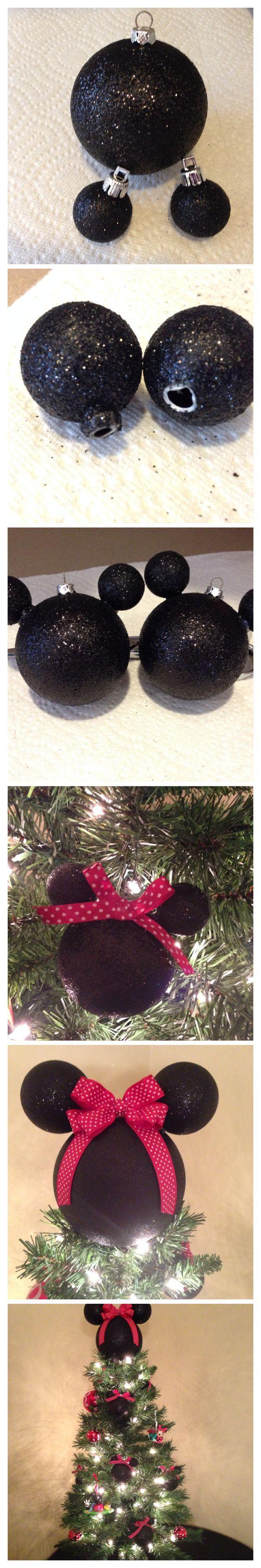DIY Minnie Mouse christmas tree ornament & tree topper (use black…