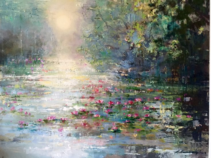 ARTFINDER: 'Sunshine and Waterlilies' by Ewa Czarniecka - This pice was made with an impasto technique, applying thick layers of oil paint to the canvas. Framed ready to hang with Certificate of Authenticity.
