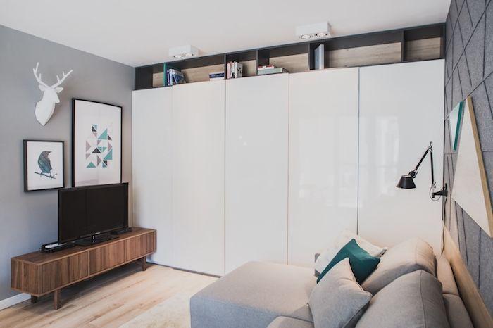 amenajare camera de zi garsoniera 36 m2 spatiu mic dulap alb