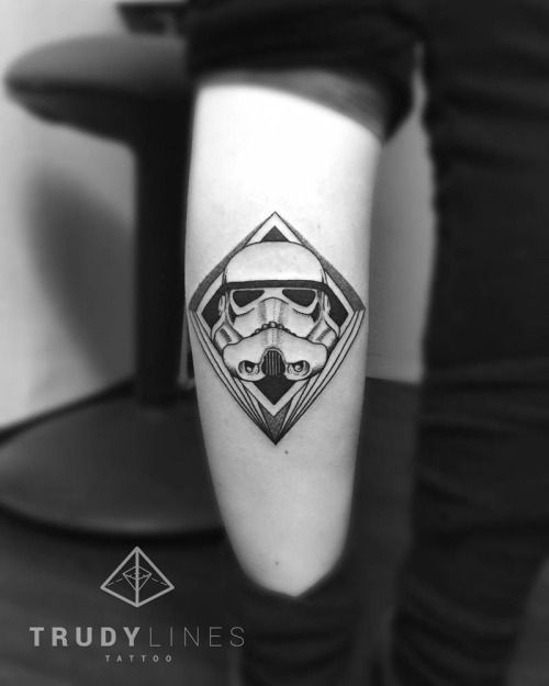 Stormtrooper tattoo on the left calf. Tattoo artist: Corina...