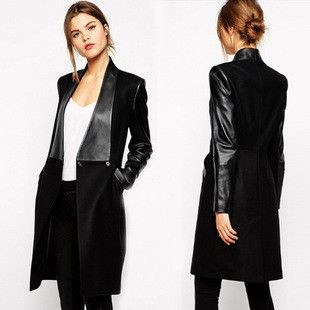 PU Patchwork Lapel Long Sleeves Knee-length Coats