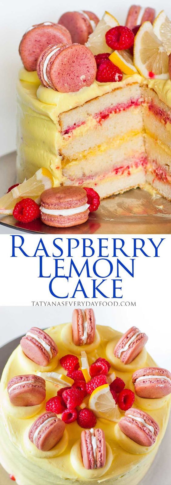 White chocolate cake layers are filled with fresh raspberries and lemon curd and frosted in a tart, lemon butter cream!
