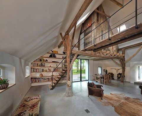 one side top level, long open bridge to the bedroom side