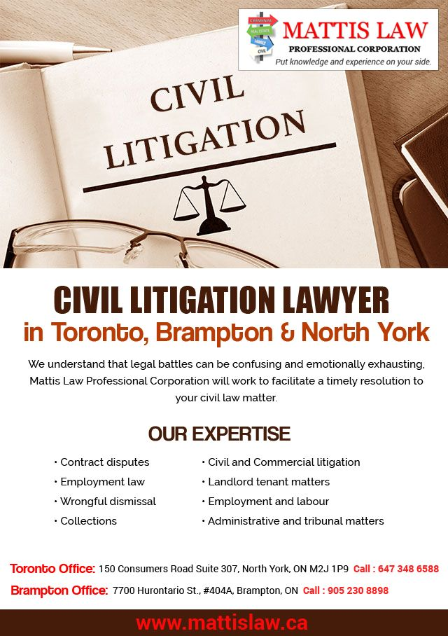 Are you looking for an experienced #CivilLitigationLawyer in #Toronto, #Brampton, #North_York or #lawfirm to represent you in your #lawsuit, then do not think more and choose the best attorney using MattisLaw.ca and put Experience & Knowledge on your side.  We're ready to assist you with:  〆 Contract disputes 〆 Employment law 〆 Wrongful dismissal 〆 Collections 〆 Civil and Commercial litigation 〆 Landlord tenant matters 〆 Employment and labour 〆 Administrative and tribunal matters  Flexible…
