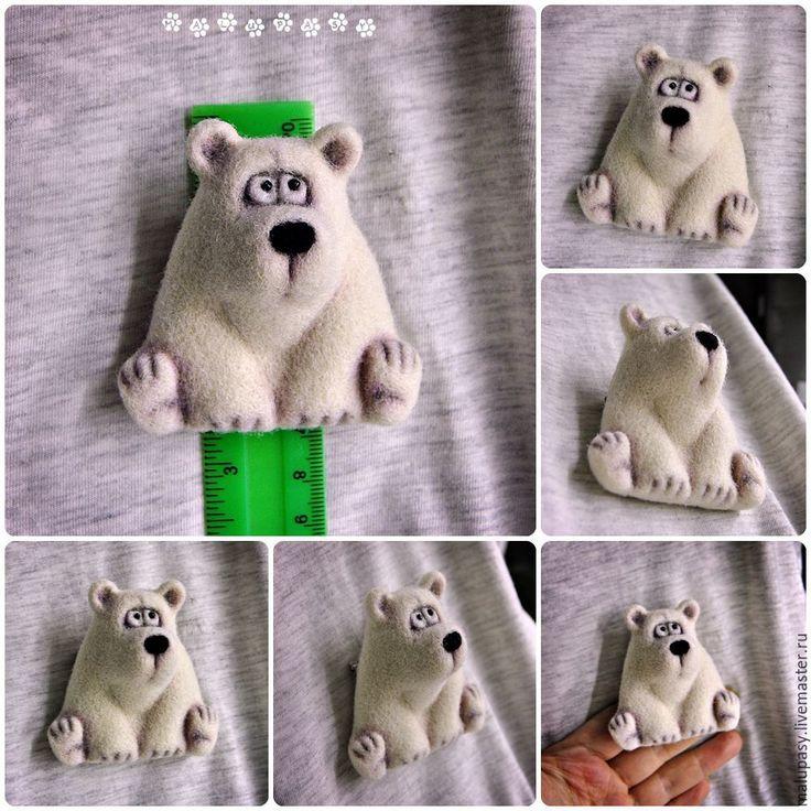 """Купить Валяная брошь """"Полярный мишка"""" - белый, медведь, мишка, полярный, умка, валяный медведь"""