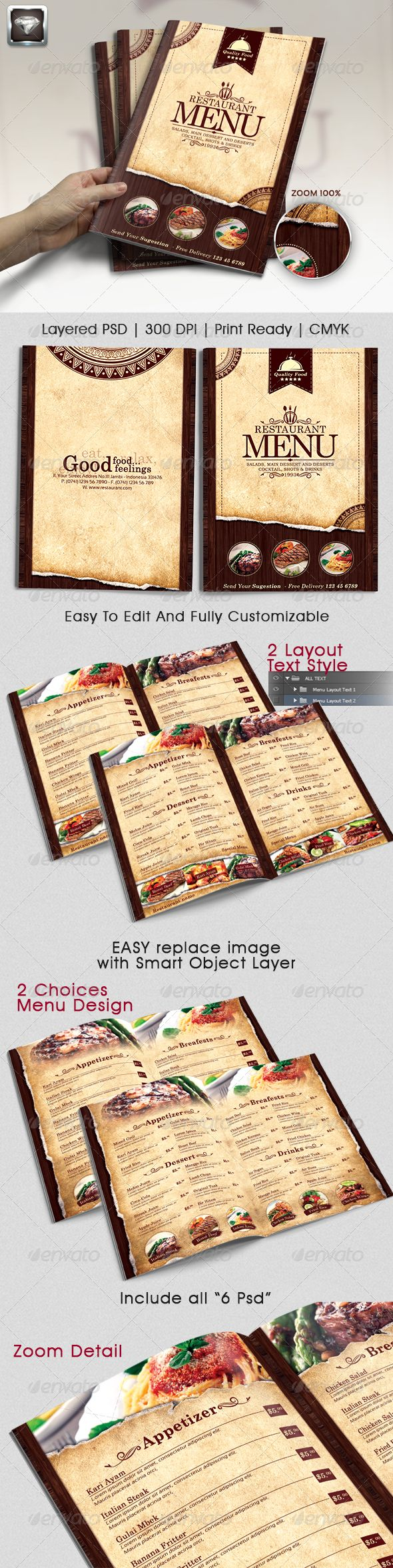 Modern Vintage Restaurant Menu Template #design #alimentationmenu Download: http://graphicriver.net/item/modern-vintage-restaurant-menu-templates-/6908591?ref=ksioks
