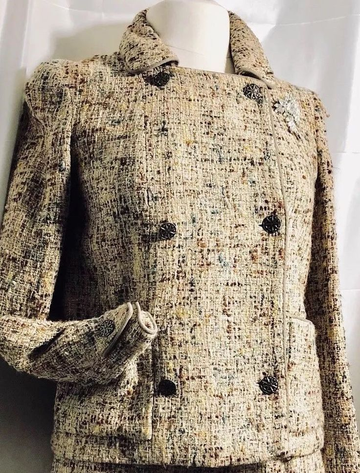 Chanel suit Size 38 6-8 US Woven Taupe Fully Lined Great Condition #CHANEL #SkirtSuit