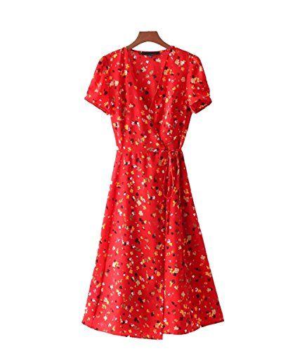 Femme A-Ligne Robe Courte Imprimées Florales V-Cou Midi Robe Casual pour  Cocktail 3091d47b8a4a