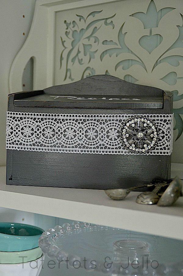 vintage modern recipe box with #styledbyToriSpelling brooch