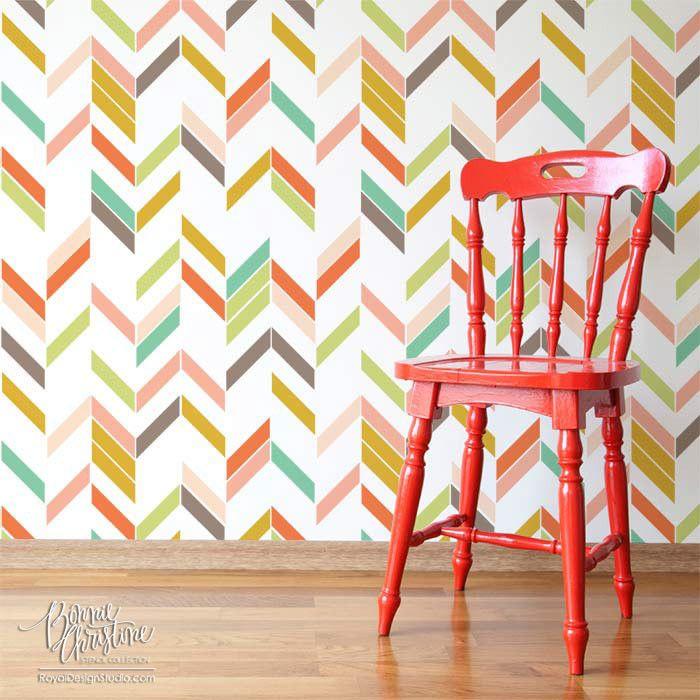 "Inspiration: ""Modern Herringbone Shuffle"" wall stencil  Application: kitchen backsplash"