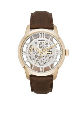 Fossil Men's Men's Townsman Automatic Brown Leather Watch - Brown - One Size