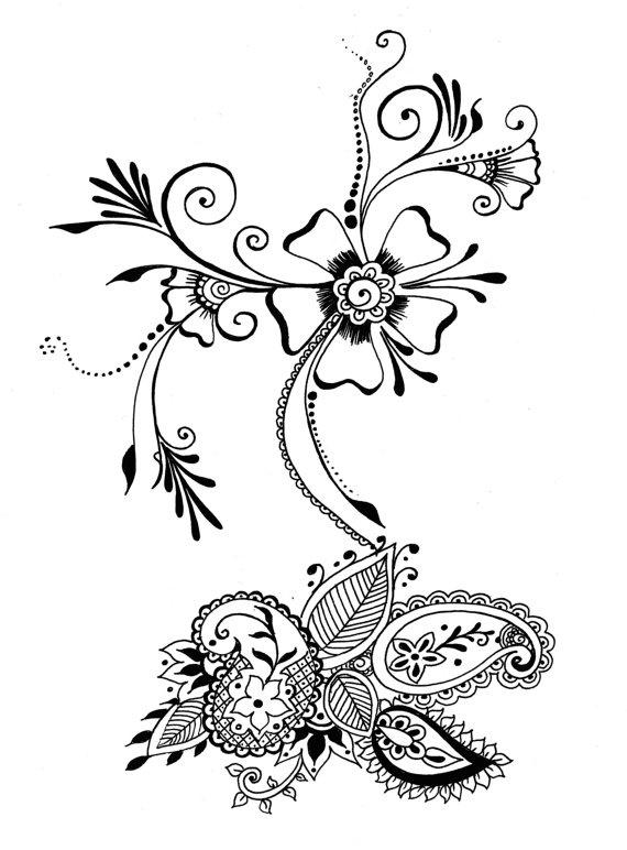 8x10 art print   flower  u0026 seed   henna floral design   ink