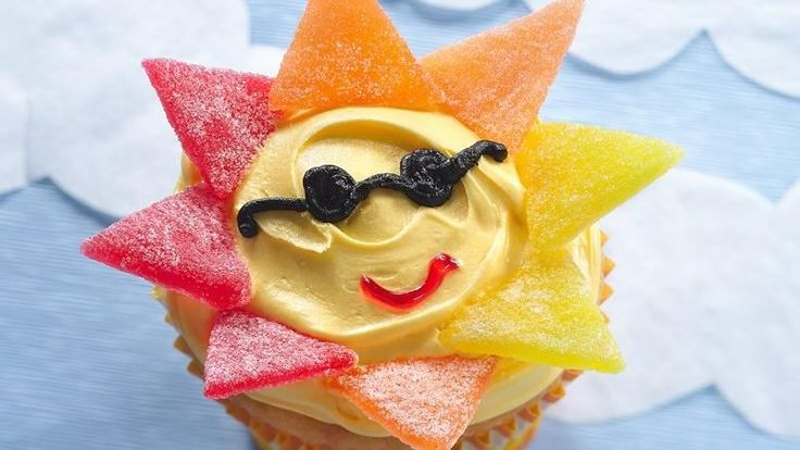 Sunshine cupcakes, but skip the sunglasses and mouth