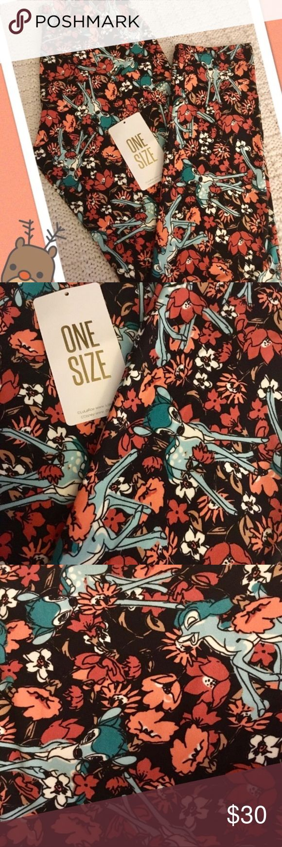🦌Bambi! LulaRoe Disney One Size Leggings!🦌 🦌LulaRoe Disney One Size Leggings ~ Bambi! ~ These bottoms have a bouquet base with blue-hued Bambi ~ Don't pass these baby bucks!🦌 *Cross posted to another site                                                     All Leggings are bought brand new from consultants and come with and without tags. Each pair is inspected and never, ever been worn!:-) LuLaRoe Pants Leggings