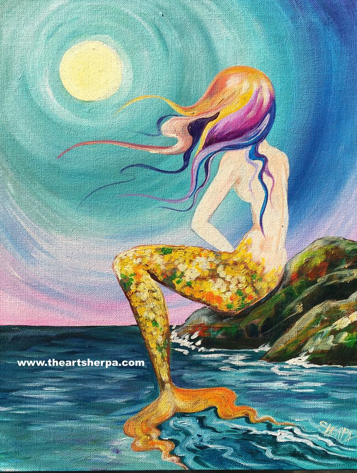 Mermaid cove painting tutorial by the Art sherpa for beginners on Youtube. www.theartsherpa.com