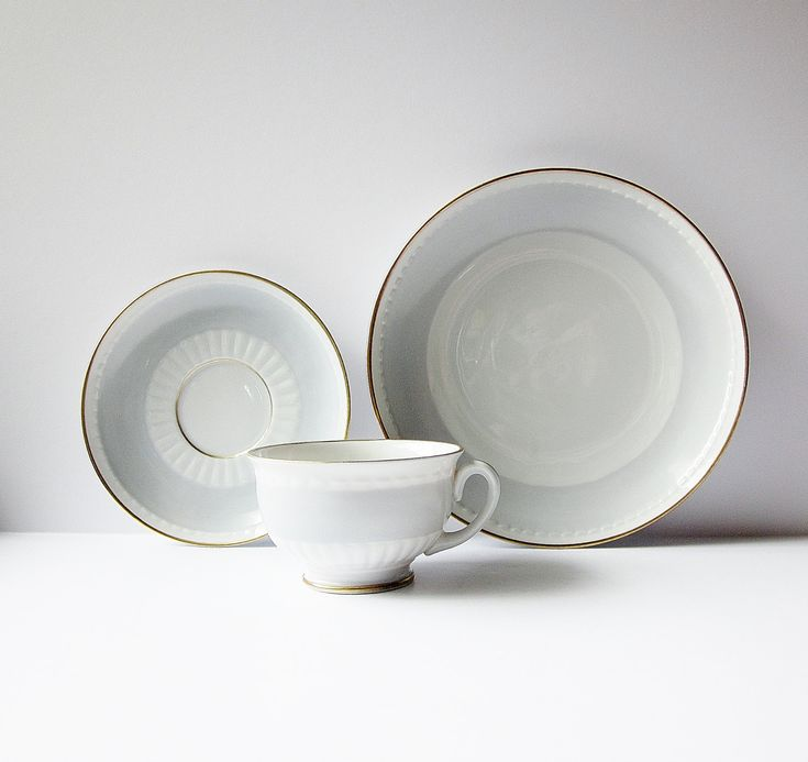 Excited to share the latest addition to my #etsy shop: Upsala Ekeby Karlskrona Tea Set - Swedish Modern Cup Saucer And Plate - Vintage Scandinavian Porcelain - Sweden KP Fine China Dove Gray http://etsy.me/2BgLc7E #swedishmodern #upsalaekebychina #karlskronatateaset