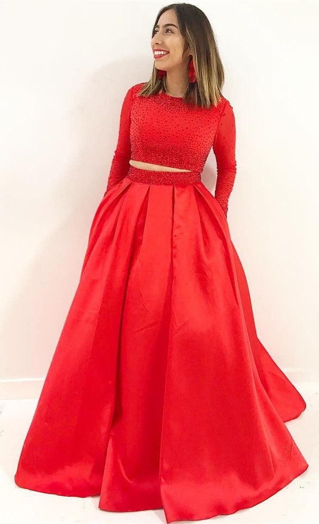 Two Piece Long Sleeves Red Long Prom Dress With Pockets Formal