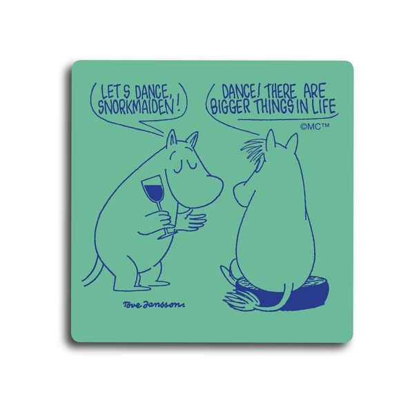 Handmade coasters with a classic motif taken from Tove Jansson's original drawings. High quality wood, made in Sweden. Size 9 x 9 cm.
