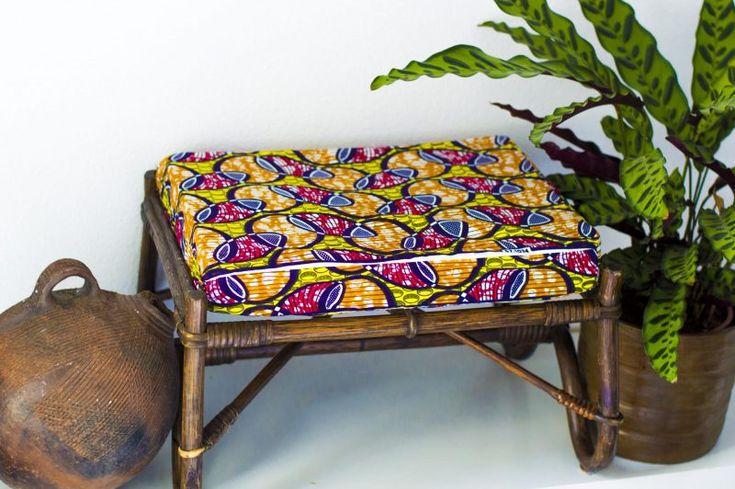 DIY Ankara African Dutch wax print footstool cushion