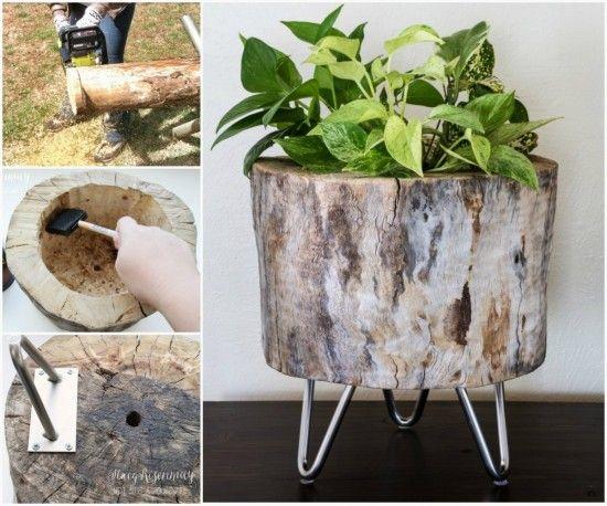Tree Stump Planter Tutorial
