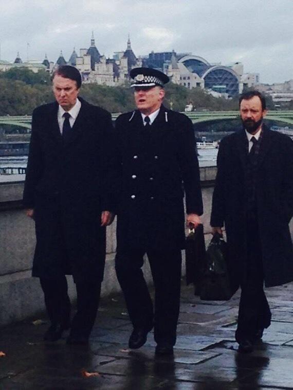 Here's @john_simm, David Threlfall and Robert Glenister filming @ITV's Code of a Killer, via @MACrompton