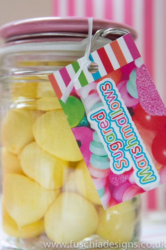 Coloured yellow sweet marsh mellows part of the Fuschia pic n mix candy bar. Great for weddings and celebrations. Www.fuschiadesigns.co.uk