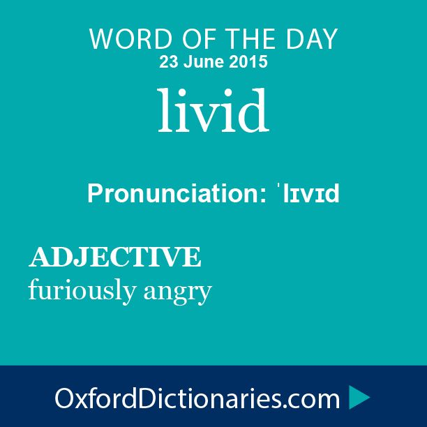 livid (adjective): Furiously angry. Word of the Day for 23 June 2015. #WOTD #WordoftheDay #livid
