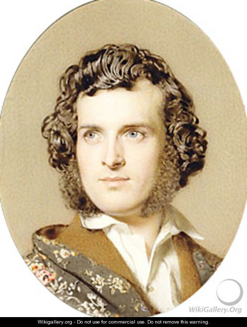 Self portrait ca 1850 by John Faed (Scottish 1818-1902)....Faed was a Victorian artist who primarily painted religious, literary, and historical scenes....here he presents himself in high Romantic style...