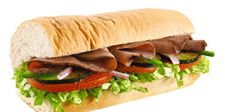 Subway: Roast Beef and Provolone Sandwich  Fast food to eat.