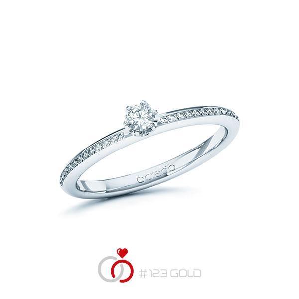Verlobungsring Diamantring Solitaire ( 2A ) - 6 Krappen Aufsatzfassung, Breite: 2,00, Höhe: 1,80- Legierung: Weißgold 585/- - Steinbesatz: 1 Brillant 0,1 ct. tw, si