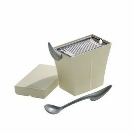 Mister Meumeu Parmesan Cheese Cellar w/Grater by Alessi. $76.00. cl 45 h 13.5 l 20 w 8.5. Designed by Philippe Starck. A giant in the world of contemporary product design, Alessi is a family run Italian business founded in 1921 that describes itself as a worldwide ambassador of Italian design. Alessi is famous for its playful design of affordable objects and appliances for the kitchen and the home created in colorful plastics and stainless steel. - Sequencage d'action culinaire