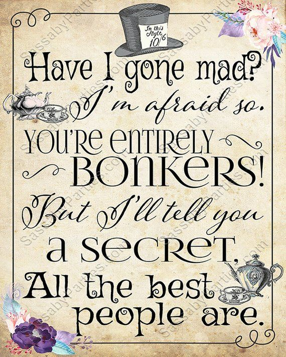 Mad Hatter Tea Party Poster Instant Download Bonkers Quote