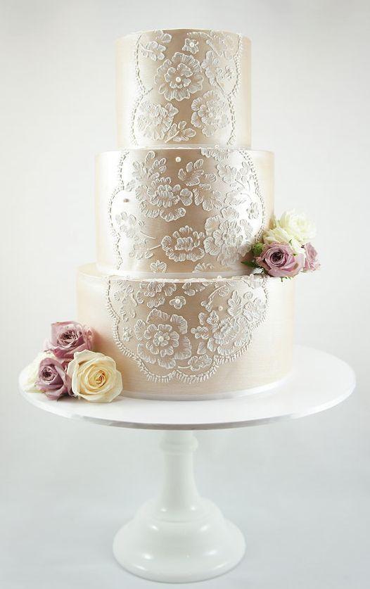 40  So Pretty Lace Wedding Cake Ideas | http://www.deerpearlflowers.com/pretty-lace-wedding-cake-ideas/