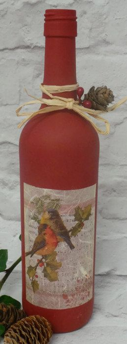 Christmas Wine Bottles Christmas Decorations Painted by SCWVintage