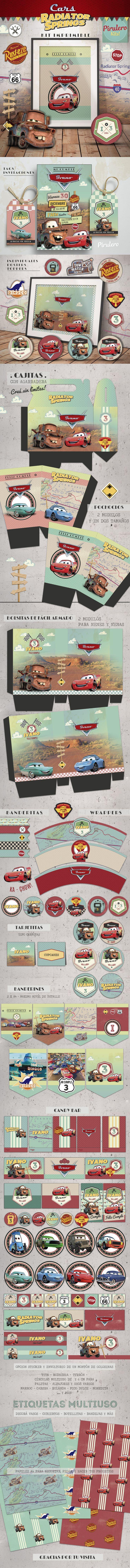 Kit imprimible Cars de Pirulero #Cars #disneyCars #RayoMcQueen #TownMater #dinococo #RadiatorSprings #RustEze #CarsParty