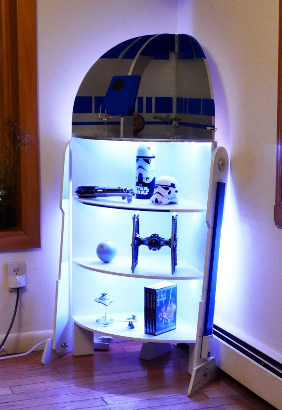 Star Wars R2-D2 Four Shelf Corner Case Cabinet Woodworking Plans (with instructions for adding LED Lights!)