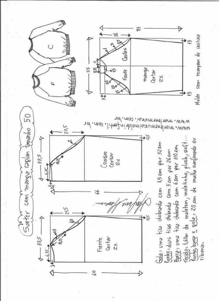 Patrón Blusa suéter raglan | Patrones de costura | Sewing, Sewing ...