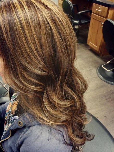 Brown hair with caramel highlights Long hair Curls Beauty