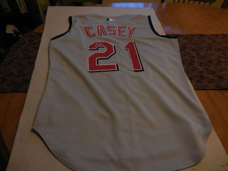 Cincinnati Reds Authentic Russell Athletic Signed Sean Casey #21 Jersey Size 44 #RussellAthelatic #CincinnatiReds