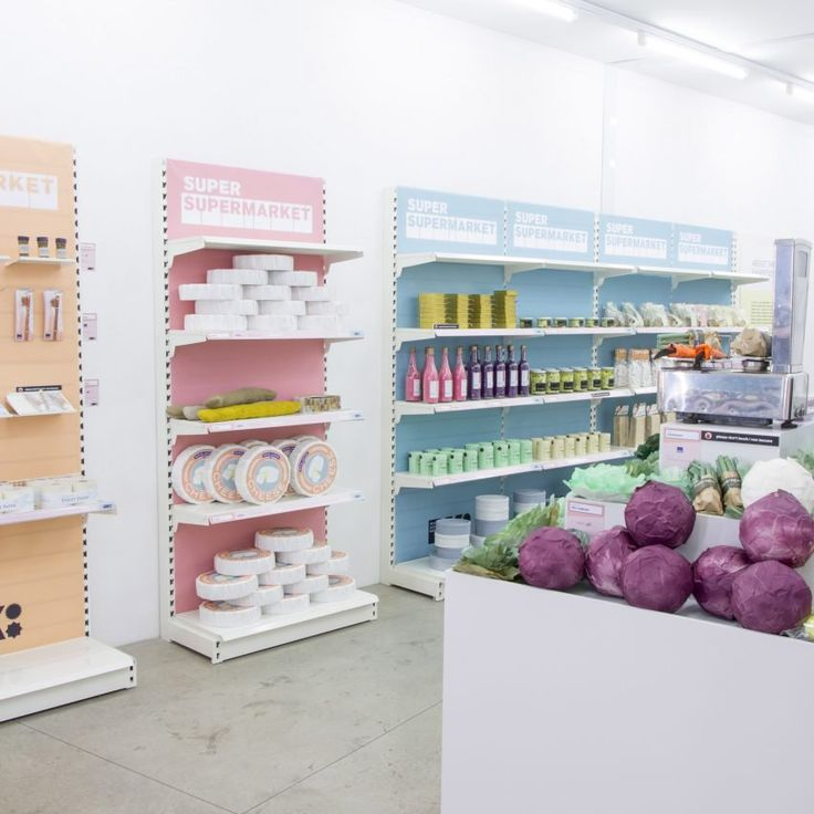 "Desserts made from Kvadrat textile leftovers.   Students from Design School Kolding in Denmark highlighted the amount of waste material created by the design industry with their Super Supermarket exhibition, which they describe as a ""sarcastic commentary to our consumer culture"".    Shelves displayed products made from residual materials donated by a variety of Danish companies – customers were able to purchase loo roll made from Fritz Hansen's leather scraps or Kvadrat fabric desserts."