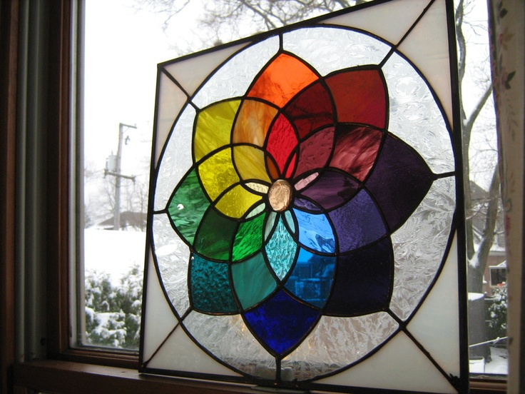 COLOR WHEEL Suncatcher-stained glas window panel-Pinwheel rainbow.  Etsy.