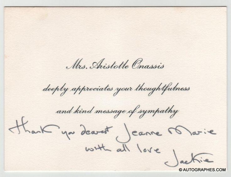 Jacqueline KENNEDY-ONASSIS (Jackie KENNEDY) - Carte autographe signée