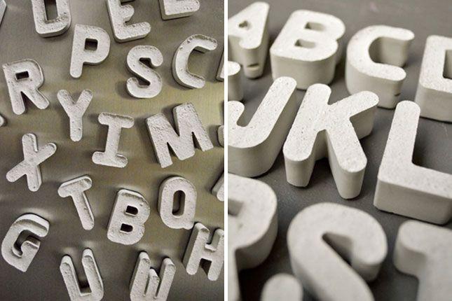Concrete Alphabet | 26 DIY Concrete Projects