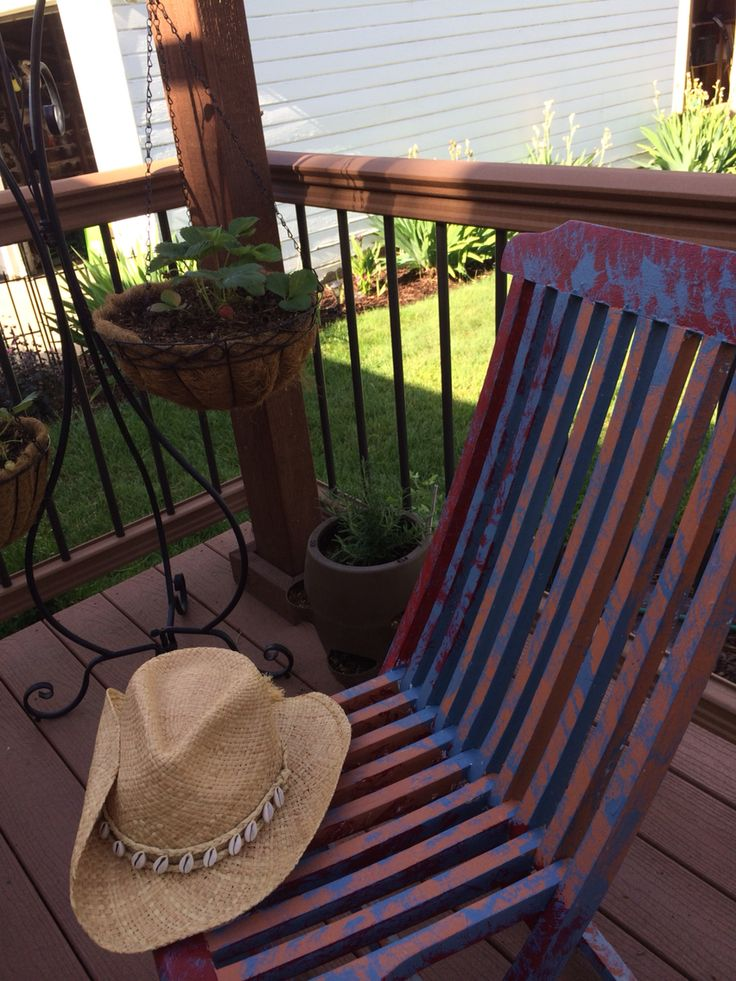 My painted chair, gardening hat, & plants