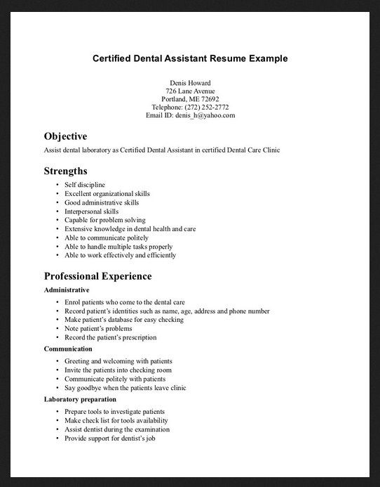 110 best Dental images on Pinterest Dental hygienist, Teeth and - certified dental assistant resume