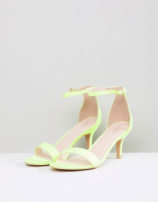 57742d70487 Glamorous Neon Yellow Barely There Kitten Heeled Sandals | the ...