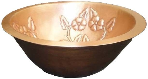 Double Wall Copper Vessel Sink with Flowers