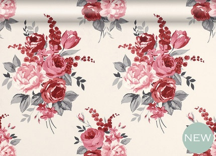 Chiswick Cranberry Floral Wallpaper