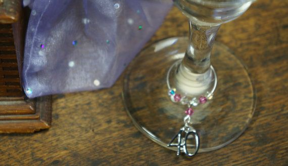 Wine Charms 40th Birthday Gift Wine Glass by Makewithlovecrafts, £5.50