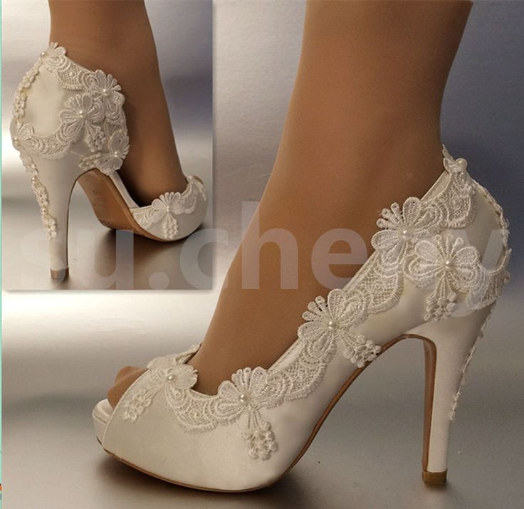 3 4 Heel Satin White Ivory Lace Pearls Open Toe Wedding Shoes Bride Size 5 11